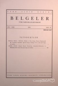 BELGELER, TURK TARIH BELGELERI DERGISI, XXII, 2001, Sayi 26, چاپ ترکیه, (MZ2289)