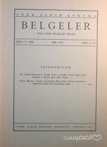 BELGELER, TURK TARIH BELGELERI DERGISI, V-VIII, 1968-1971, Sayi 9-12, چاپ ترکیه, (MZ2311)